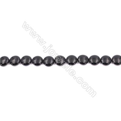 Natural Black Agate Beads Strands  Flat Round  14mm  Hole: 1mm   about 28 beads/strand  15~16''