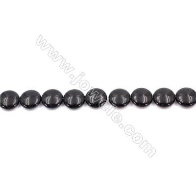 Natural Black Agate Beads Strands  Flat Round 16mm  Hole: 1.5mm  about 25 beads/strand  15~16''