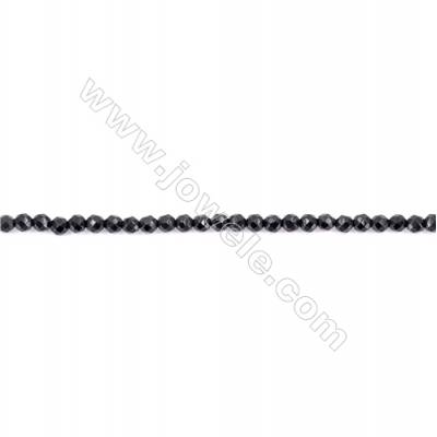 Faceted Black Agate Beads Strands Round  2mm  Hole 0.5mm  about 200 beads/strand  15~16''