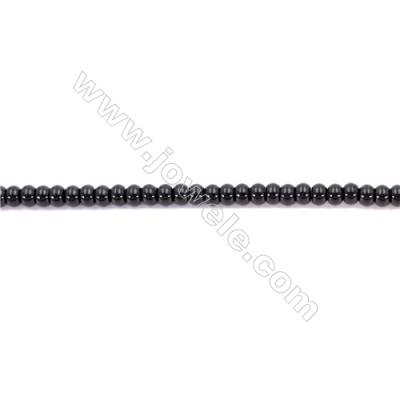 Natural Black Agate Beads Strands  Abacus  4x6mm  Hole: 1mm  93 beads/strand  15~16''