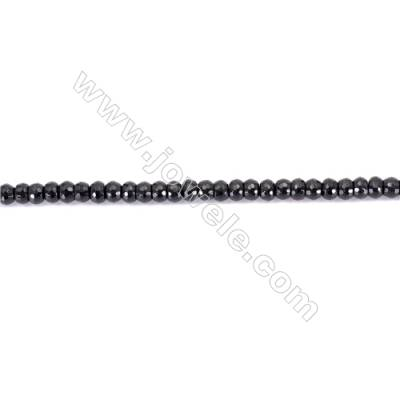 Natural Black Agate Beads Strands Faceted Abacus  4x6mm  Hole: 1mm  about 93 beads/strand  15~16''