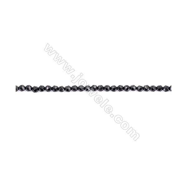 Faceted Black Agate Beads Strands Round  4mm  Hole 0.8mm  about 97 beads/strand  15~16''