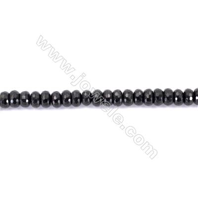 Natural Black Agate Beads Strands Faceted Abacus  6x10mm  Hole: 1mm about 67 beads/strand  15~16''