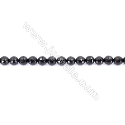 Faceted Black Agate Beads Strands Round  10mm  Hole 1mm  about 39 beads/strand  15~16''