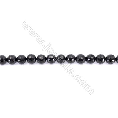 Faceted Black Agate Beads Strands Round  12mm  Hole: 1mm about 33 beads/strand  15~16''