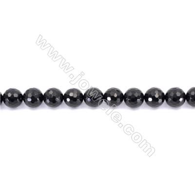 Faceted Black Agate Beads Strands Round  14mm  Hole: 1.5mm about 28 beads/strand  15~16''