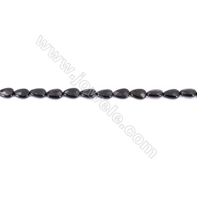 Natural Black Agate Beads Strands Faceted Teardrop  8x12mm  Hole: 1mm  about 33 beads/strand  15~16''