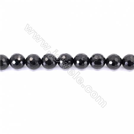 Faceted Black Agate Beads Strands Round  16mm  Hole: 1.5mm about 25 beads/strand  15~16''