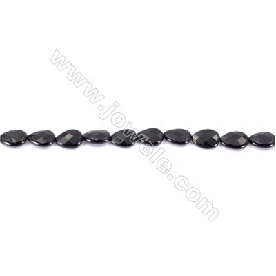 Natural Black Agate Beads Strands Faceted Teardrop  10x14mm  Hole: 1mm  about 28 beads/strand  15~16''