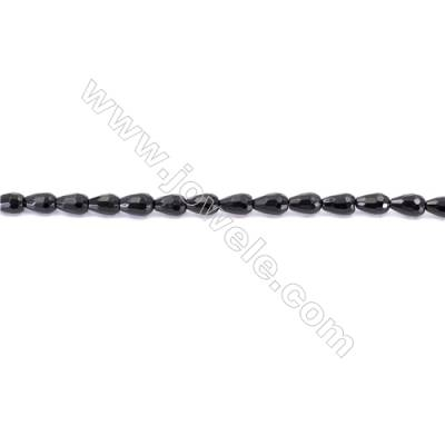 Faceted Black Agate Beads Strands Teardrop  6x9mm  Hole: 1mm about 43 beads/strand  15~16''