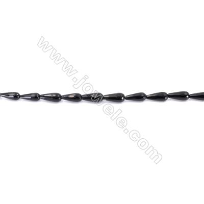 Faceted Black Agate Beads Strands Teardrop  6x16mm  Hole: 1mm about 25 beads/strand  15~16''