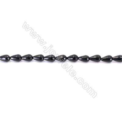 Faceted Black Agate Beads Strands Teardrop  8x12mm  Hole: 1mm about 33 beads/strand  15~16''