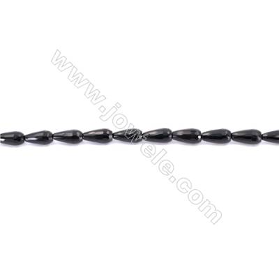 Faceted Black Agate Beads Strands Teardrop  8x16mm  Hole: 1mm about 25 beads/strand  15~16''