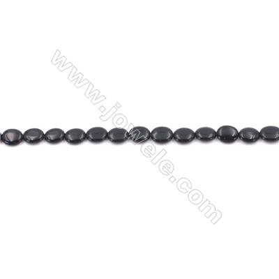 Black Agate Beads Strands Oval  8x10mm  Hole: 1mm about 40 beads/strand  15~16''