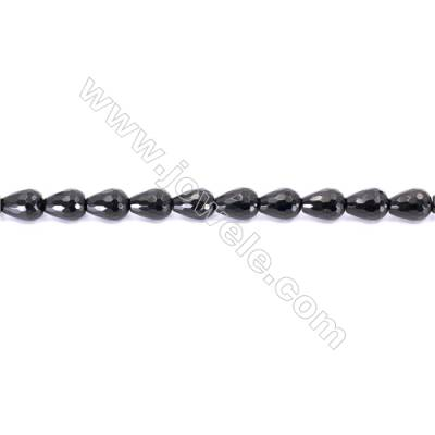 Faceted Black Agate Beads Strands Teardrop  12x16mm  Hole: 1.5mm about 25 beads/strand  15~16''
