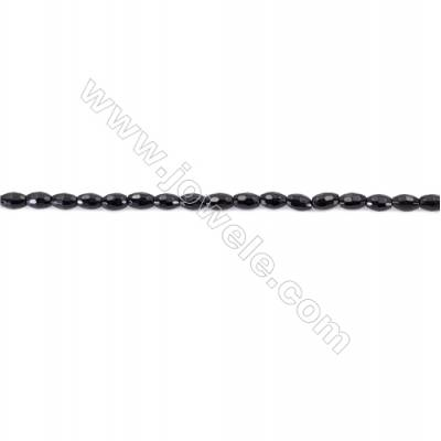 Natural Black Agate Beads Strand  Faceted Rice  Size 4x6mm  Hole: 1mm  about 63 beads/strand 15~16""