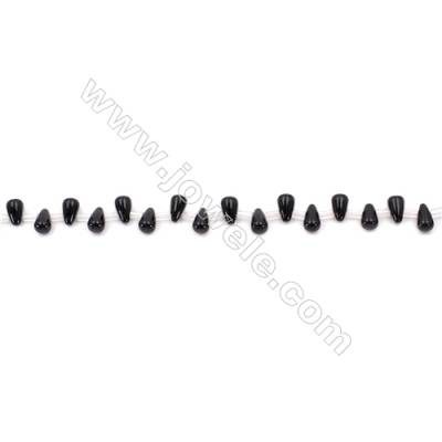 Black Agate Beads Strands Teardrop  5x8mm  Hole: 0.7mm about 50 beads/strand  15~16''