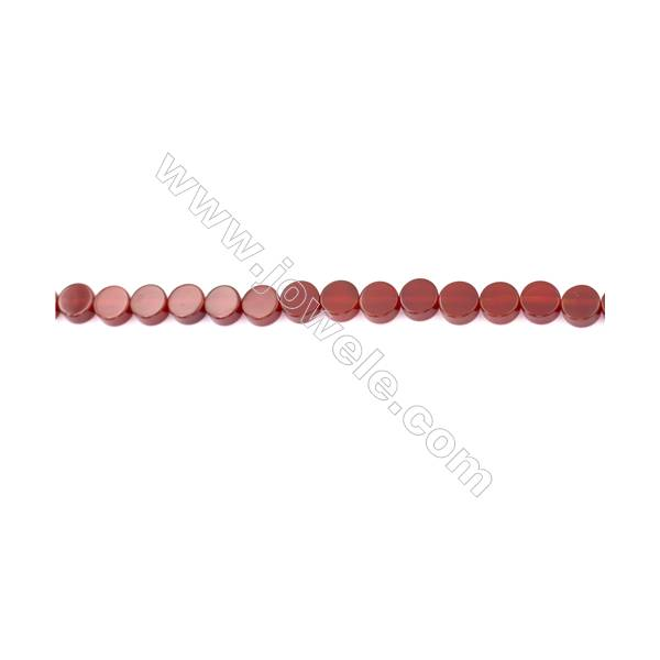 Red Agate Beads Strands Flat Round  8mm  Hole: 1.5mm about 51 beads/strand  15~16''