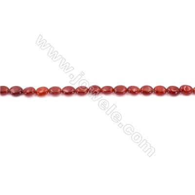 Red Agate Beads Strands Oval  5x8mm  Hole: 1mm about 145 beads/strand  15~16''