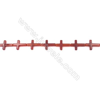 Red Agate Beads Strands Cross  20x30mm  Hole: 1.5mm about 145 beads/strand  15~16''