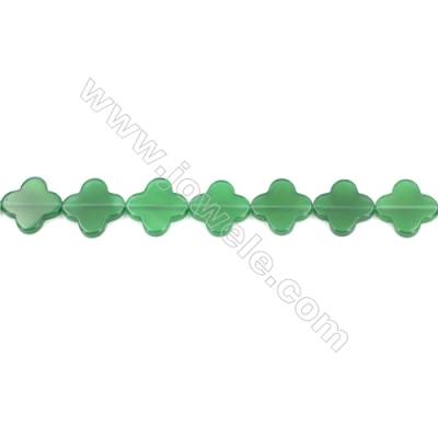 Green Agate Beads Strands Four-Leaf Clover  20x20mm  Hole: 0.8mm about 20 beads/strand  15~16''
