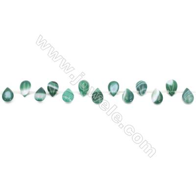 Striped Green Agate Beads Strands Teardrop  8x12mm  Hole: 0.7mm about 33 beads/strand  15~16''