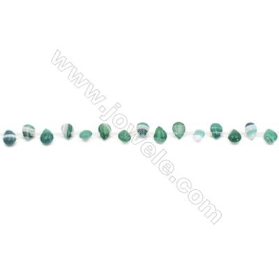 Striped Green Agate Beads Strands Teardrop  6x8mm  Hole: 0.8mm about 50 beads/strand  15~16''