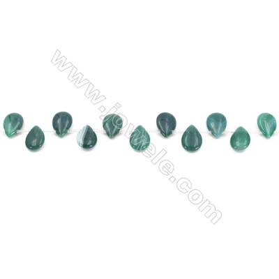 Striped Green Agate Beads Strands Teardrop  10x14mm  Hole: 0.8mm about 28 beads/strand  15~16''