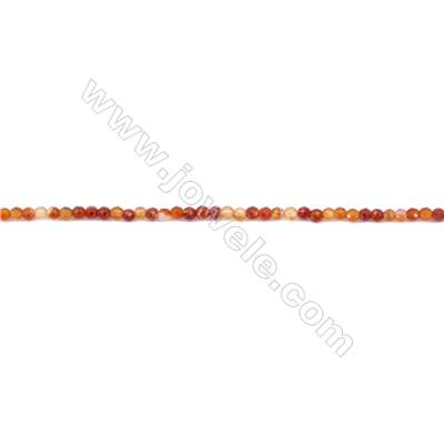 Faceted Carnelian Beads Strands Round  3mm  Hole: 0.8mm about 136 beads/strand  15~16''