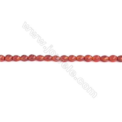 Twisted Red Agate Beads Strands  5x8mm  Hole: 1mm about 50 beads/strand  15~16''