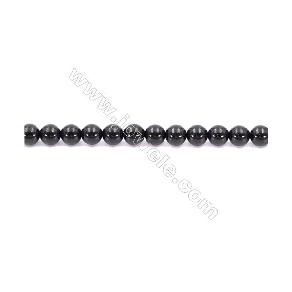 Natural Black Agate Beads Strand  Round  Diameter  8mm   Hole 1mm   About 49 beads/strand 15~16''