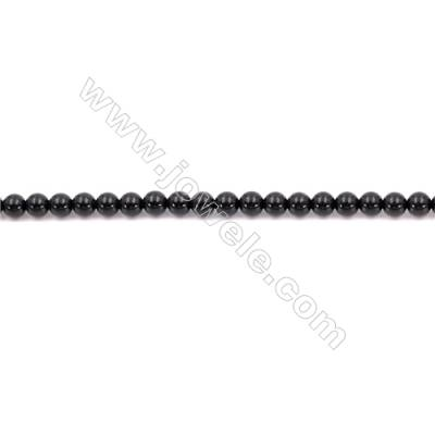 Natural Black Agate Beads Strand  Round  Diameter  4mm   Hole 0.8mm   About 97 beads/strand 15~16''