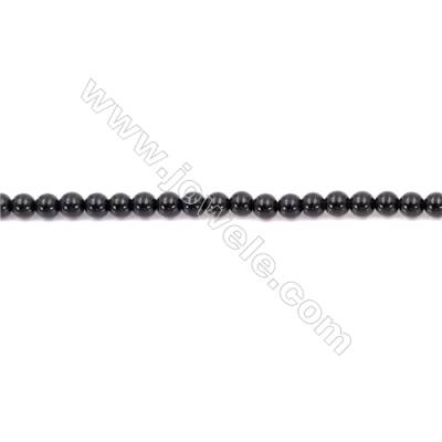 Natural Black Agate Beads Strand  Round  Diameter  3mm   Hole 0.7mm   About 128 beads/strand 15~16''