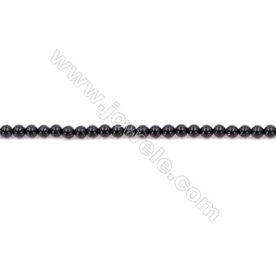 Natural Black Agate Beads Strand  Round  Diameter  2mm   Hole 0.5mm   About 179 beads/strand 15~16''