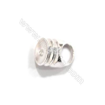 925 Sterling silver Cord End, Size 7x9mm, x 5 pairs