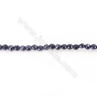 Faceted Blue Sand Stone Beads Strand  Round  Diameter 2mm   hole 0.4mm   about  200 beads/strand 15~16''