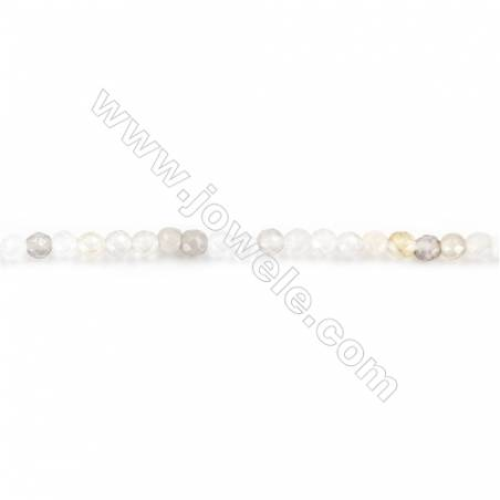 Natural  Faceted Botswana Agate Beads Strand  Round  diameter 2mm   hole 0.4mm   about 188 beads/strand 15~16''