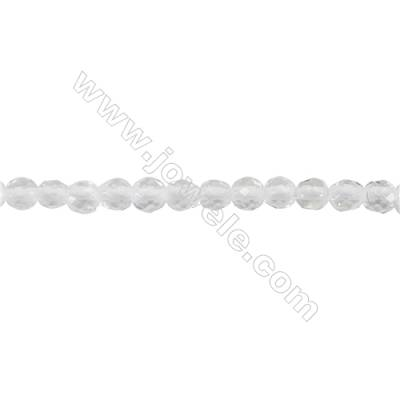 Faceted White Quartz Beads Strand  Round  diameter 2mm   hole 0.4mm   about 200 beads/strand 15~16''