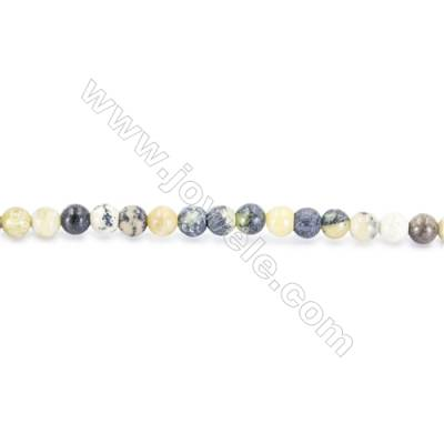 Yellow Turquoise Beads Strand, Round, Diameter 2mm, Hole 0.4mm, about 181 beads/strand 15~16""