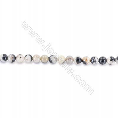 Natural Dalmatian Jasper Beads Round, Diameter 2mm, Hole 0.4mm, about 177 beads/strand 15~16""