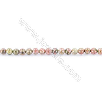 Natural  Stone Unakite Beads Strand  Round  diameter 2mm   hole 0.4mm   about 173 beads/strand 15~16''