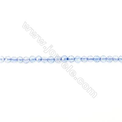 Faceted Blue Agate Beads Strand  Round  diameter 2mm   hole 0.4mm   about 203 beads/strand 15~16''