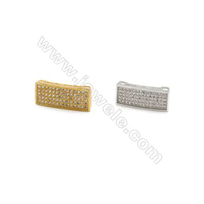 7x18mm  Square Brass Connector, (Gold, Rhodium) Plated, CZ Micropave, Thick 4mm, 20pcs/packRandom