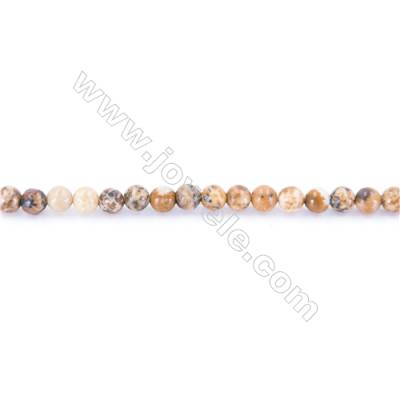 Natural Picture Jasper Beads Strand  Round  diameter 2mm   hole 0.4mm   about 178 beads/strand 15~16''
