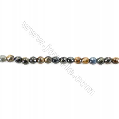 Natural Faceted B lue Tiger Eye Beads Strand  Round  diameter 2mm   hole 0.4mm   about 183 beads/strand 15~16''