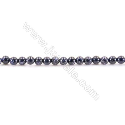 Natural Blue Sand Stone Beads Strand  Round  diameter 2mm   hole 0.4mm   about 187 beads/strand 15~16''