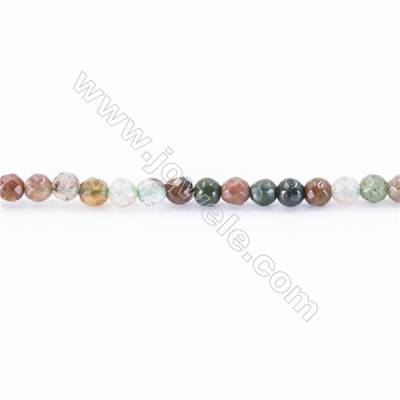 Natural Faceted Fancy Indian Agate Beads Strand  Round  diameter 2mm   hole 0.4mm   about 196 beads/strand 15~16''