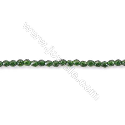 Natural Stone Dark Green SandStone sand Beads  Faceted Round  diameter 2mm   hole 0.4mm   about 196 beads/strand 15~16''