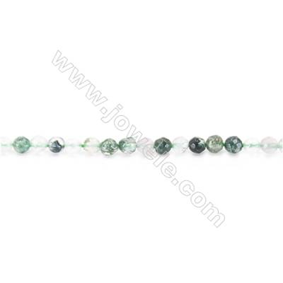 Natural Faceted Moss Agate Beads Strand  Round  diameter 2mm   hole 0.4mm   about 187 beads/strand 15~16''