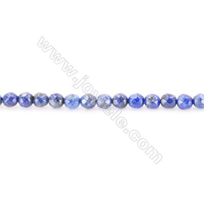 Faceted Natural Lapis Lazuli Beads Strand  Round  diameter 2mm   hole 0.4mm   about 176 beads/strand 15~16''